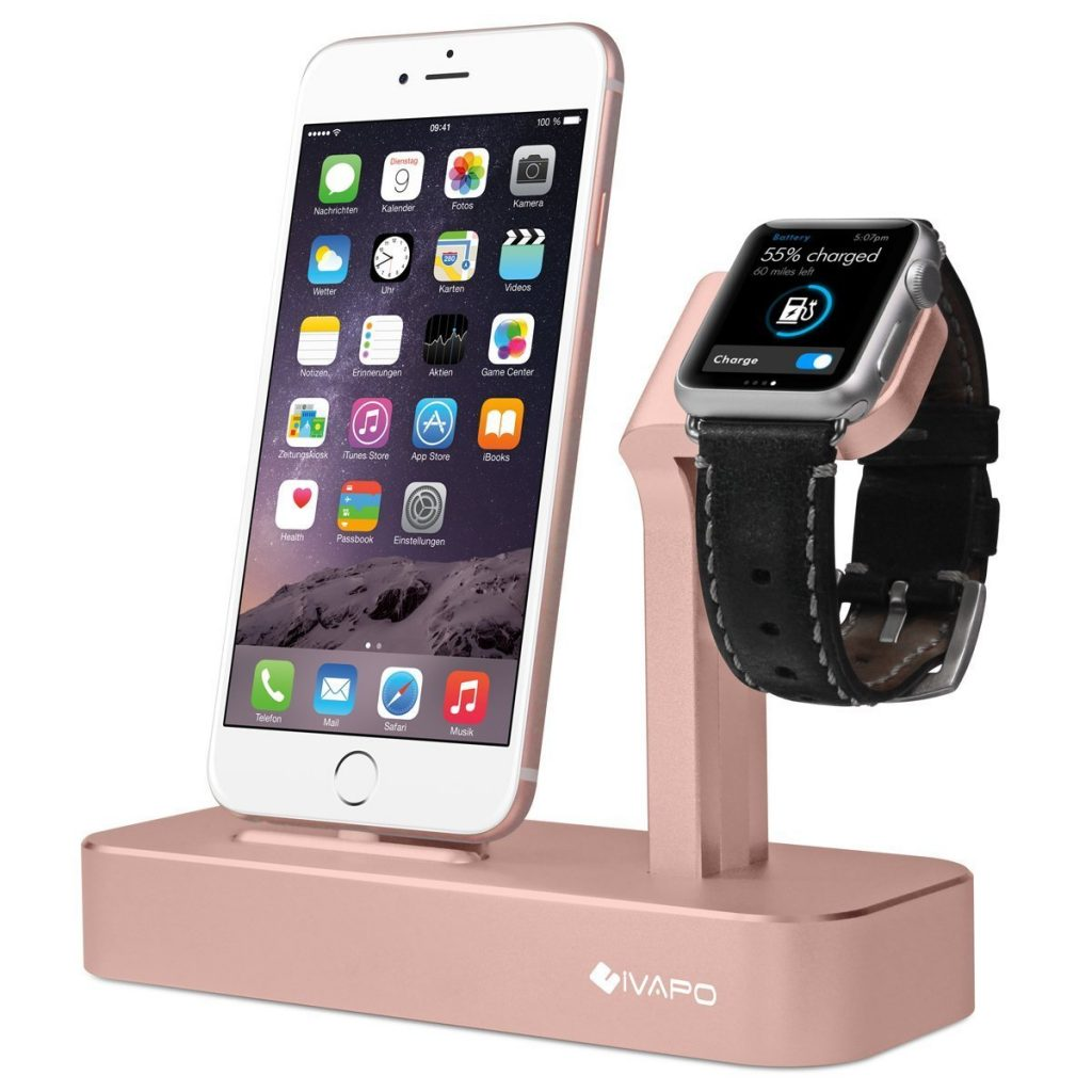 iVAPO Apple Watch Stand Solid Aluminum Charging Holder for iPhone