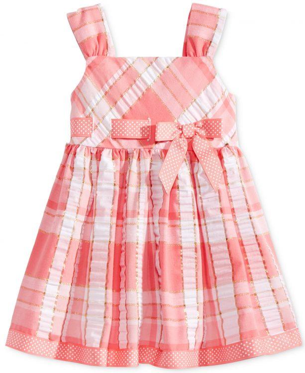 Bonnie Baby Metallic Plaid Seersucker Dress, Baby Girls